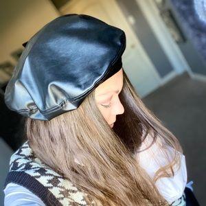 Black pleather beret